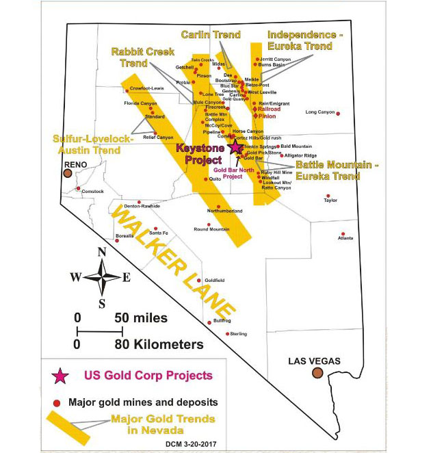 U.S. Gold's Keystone Project Map