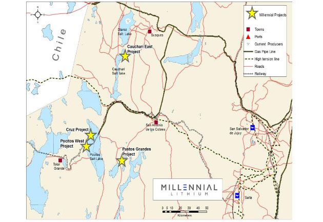 Millennial Lithium Project Map