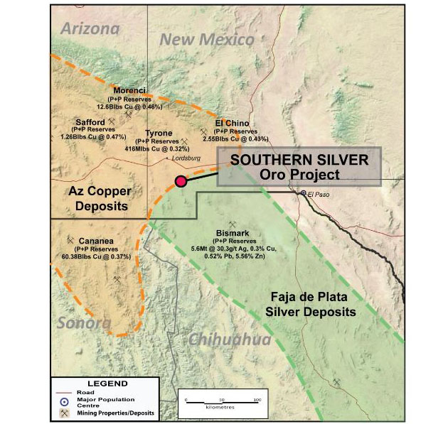 Southern Silver Oro Project Map