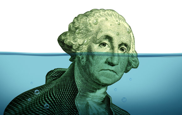 Dollar under water