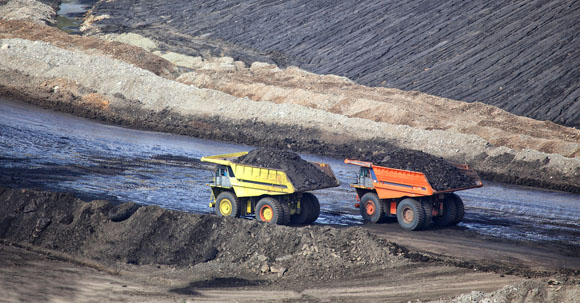 Two mine trucks