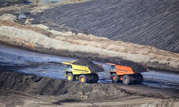 Two mine trucks