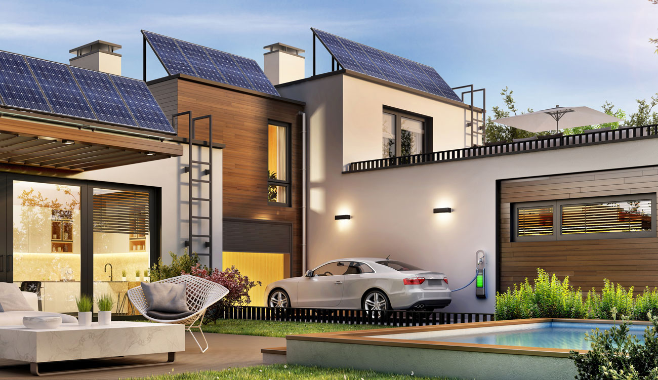 House and electric car