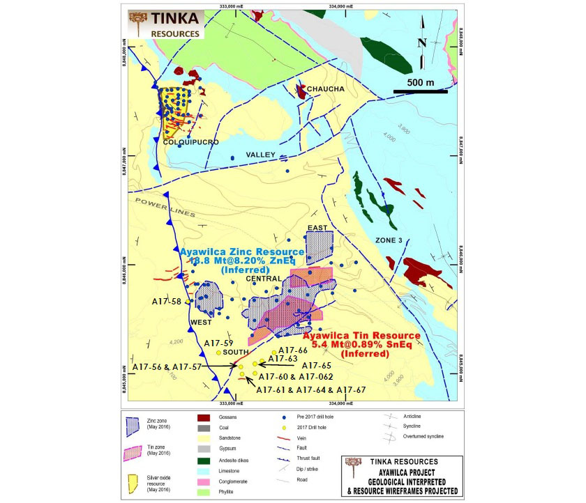 Ayawilca Project Mineralized Zones