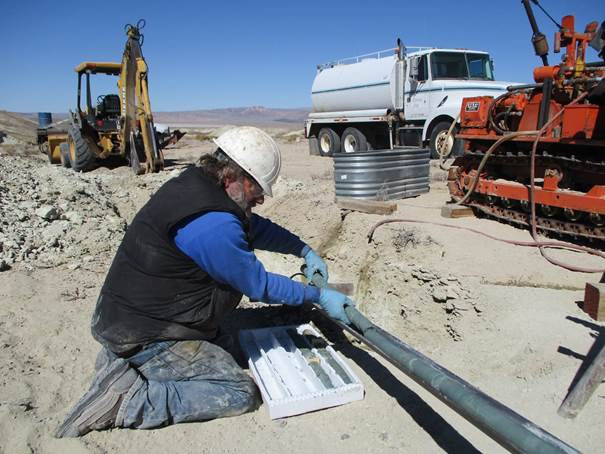 Drilling at Dean claystone project; Clayton Valley, Nevada