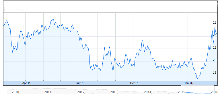 Market Vectors Junior Gold Miners 1-Year Chart