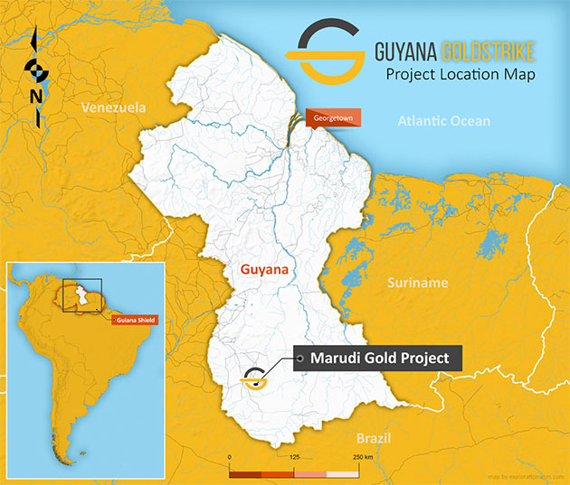 Guyana Goldstrike Project Location Map