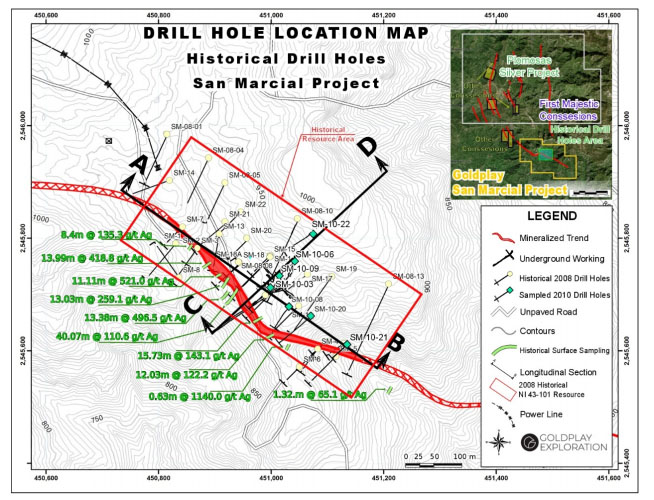 Drill Hole Location Map San Marcial Project