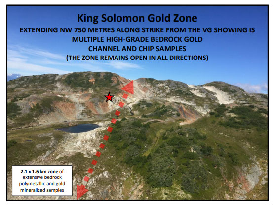 Aerial view of King Solomon Gold Zone