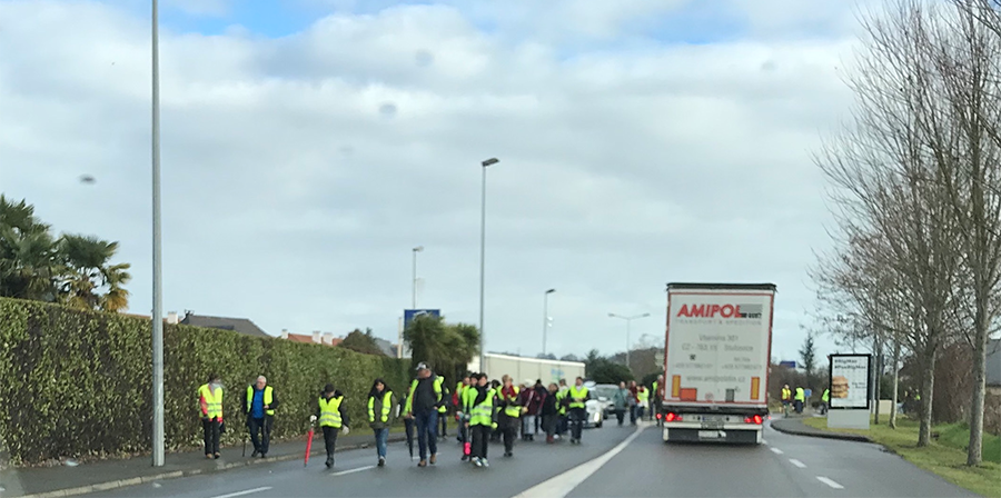 Yellow Vests walking in Oloron, France