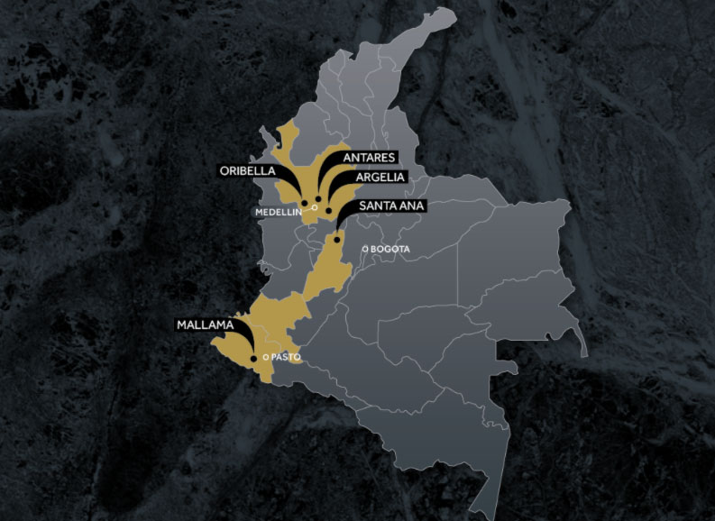 Outcrop Colombia Map
