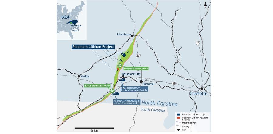 Piedmont Lithium Map