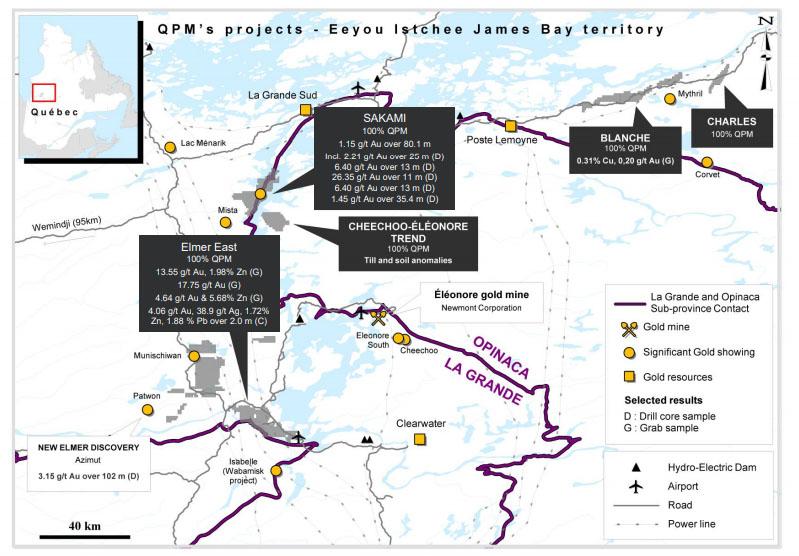 Quebec Precious Metals QPM map