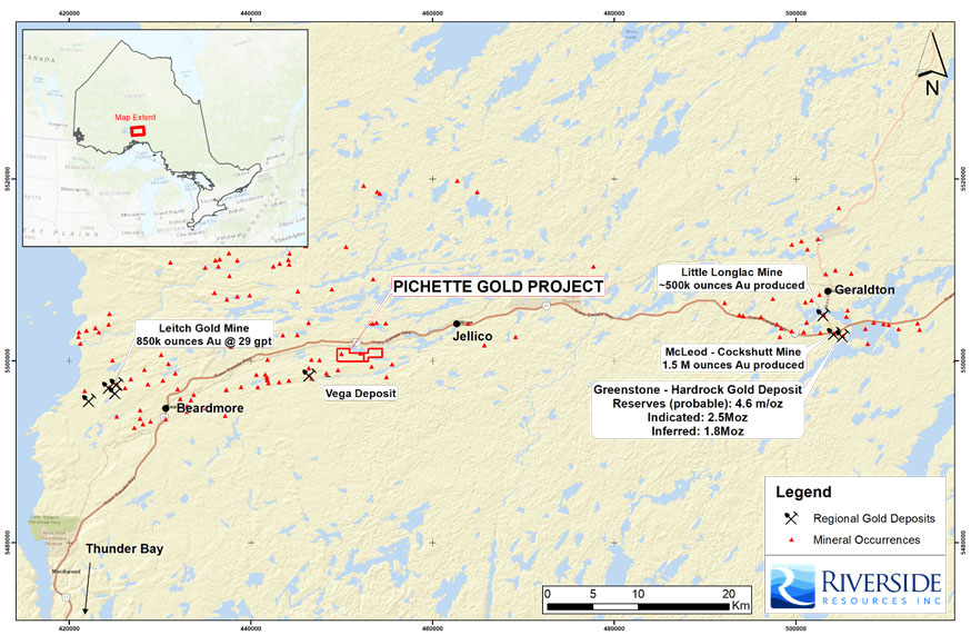 Pichette Gold Project map
