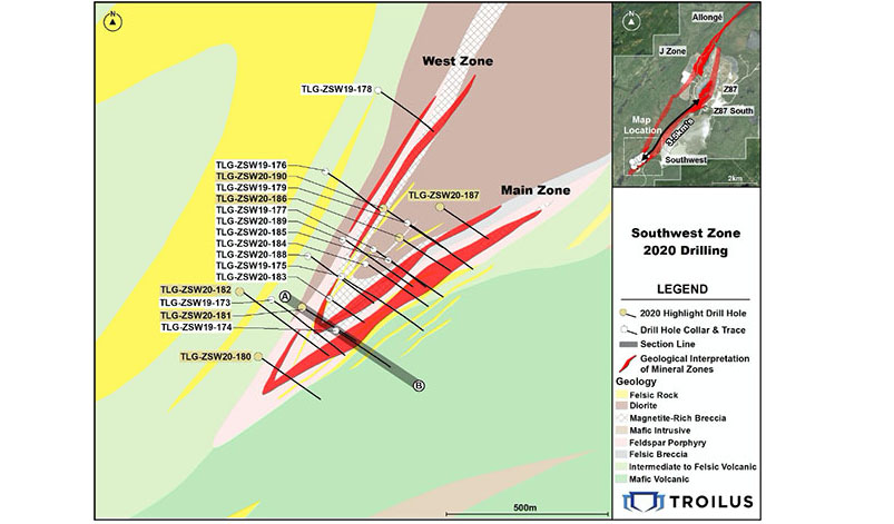 Troilus Southwest Zone Drill Map