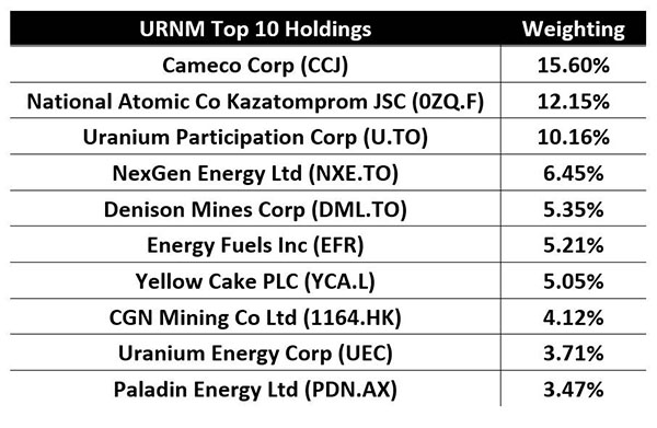 URNM Top 10 Holdings