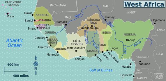 west africa map ghana