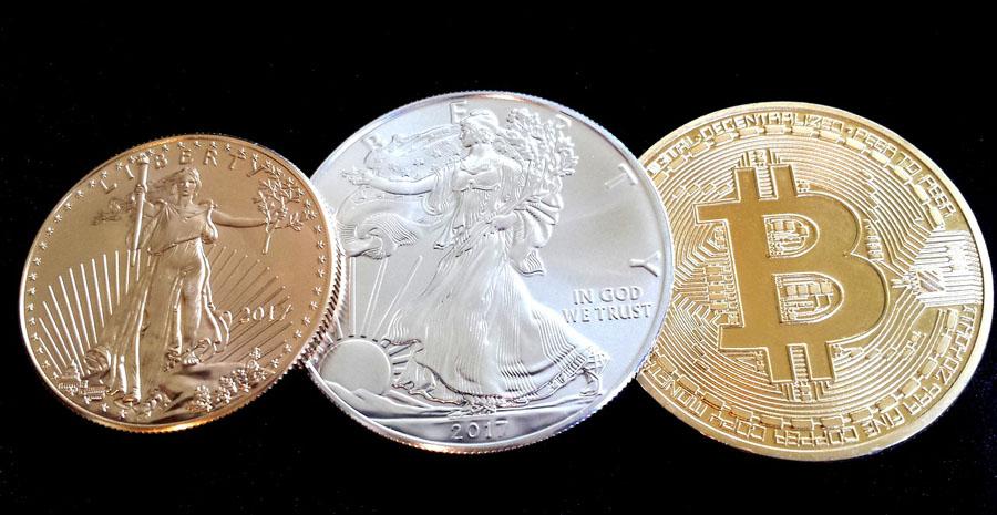 Bitcoin, silver, gold