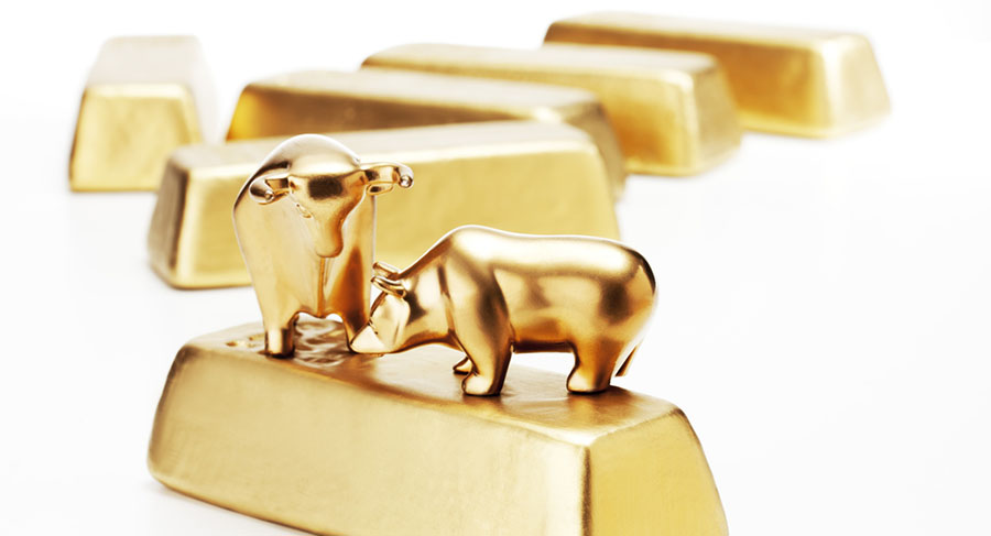 Bull and bear gold bar
