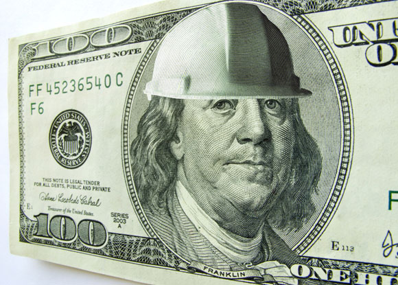 Dollar with hard hat