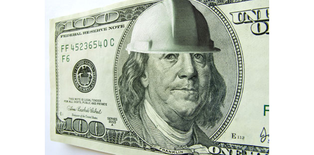 Dollar with hardhat