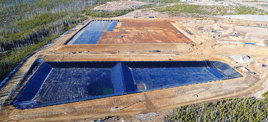Liners in water management ponds and tailings waste storage facility