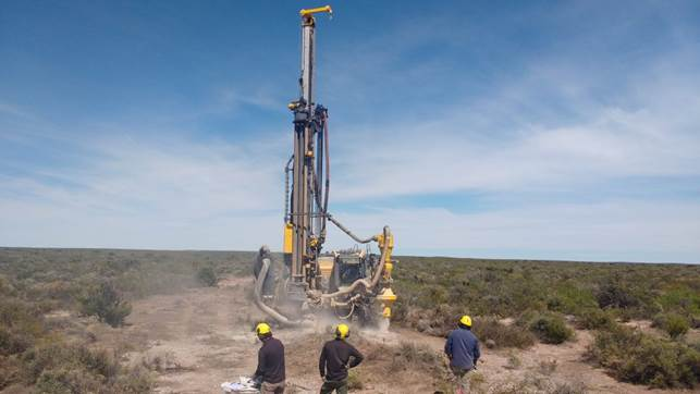 A drill rig at Blue Sky Uranium's Amarillo Grande project in Argentina