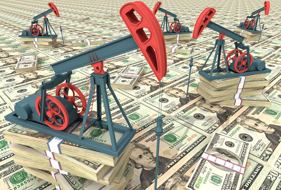 Oil derricks and money