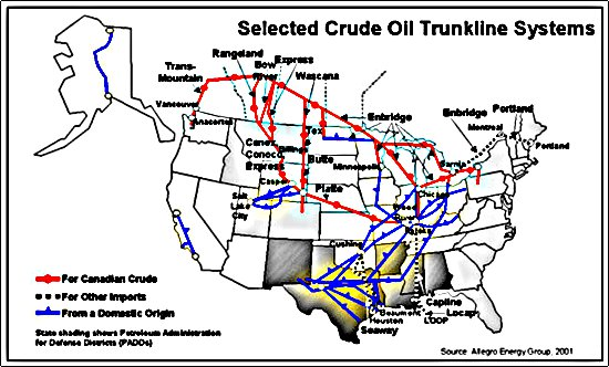 Why The US Desperately Needs An EastWest Oil Pipeline - Oil pipeline map of us