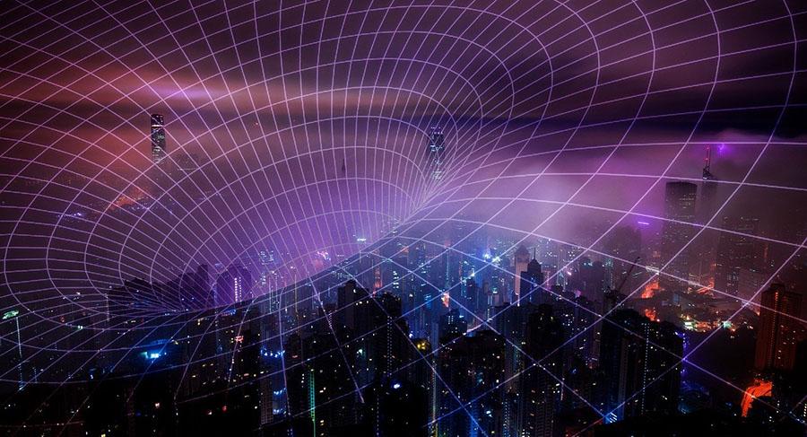 technology tech data vortex grid cloud city